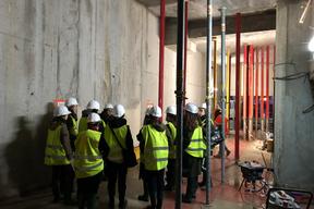 Visite du chantier du conservatoire Vandal - le hall d'entrée